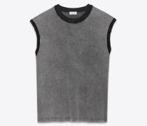 ärmelloses top aus ausgebleichtem grauem und schwarzem jersey