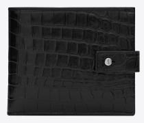 East/West Sac de Jour Portemonnaie aus schwarzem Leder mit Krokodillederprägung
