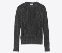 Pullover aus schwarzem und silberfarbenem Aranstrick