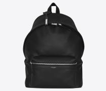 city rucksack aus schwarzem, matten leder