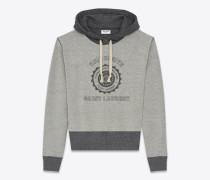 saint laurent université kapuzensweatshirt aus grau meliertem frottee