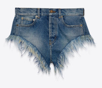 Slim-fit ostrich feathered shorts in Arizona light blue denim