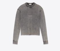 crop-sweatshirt aus ausgebleichtem schwarzem fleece mit saint laurent-quadrat