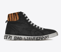halbhoher joe sneakers aus schwarzem leder und gestreiftem fellabschluss