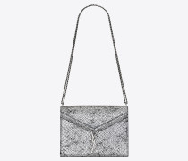 CASSANDRA monogram clasp bag in lamé python-embossed leather