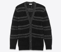 Langer Streifencardigan in schwarzem und silbernem Zopfmusterstrick