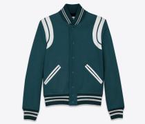 College-Jacke aus petrolblauer Schurwolle