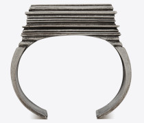 monumental square cuff bracelet in metal and enamel
