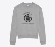 grau meliertes sweatshirt mit saint laurent université print