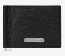id portemonnaie aus schwarzem leder mit krokodillederprägung und geldscheinclip