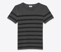 Graues Saint Laurent T-Shirt mit Streifen