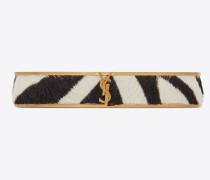 Schmales Animal Armband aus goldfarbenem Metall und Kalbsleder mit Zebrastreifen