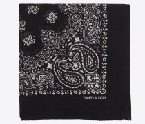 Square scarf in wool muslin with YSL bandana print