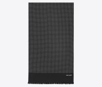 schal aus schwarzer und elfenbeinfarbener shantung-seide mit tupfenmuster