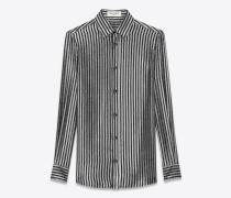 Gestreifte Bluse aus schwarzem und silberfarbenem Mousselin