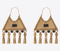 Ohrringe aus Metall und Emaille mit dreieckigem Anhänger