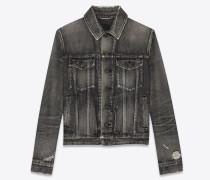 Jeansjacke aus ausgebleichtem schwarzem Denim mit Fransenabschluss