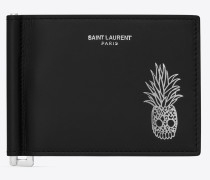 """Pineapple"""" stamped wallet with bill clip in smooth leather"""""""