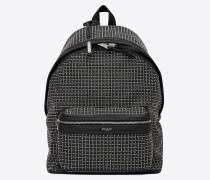 City Rucksack aus schwarzem Leder mit Mikronieten und Ösen