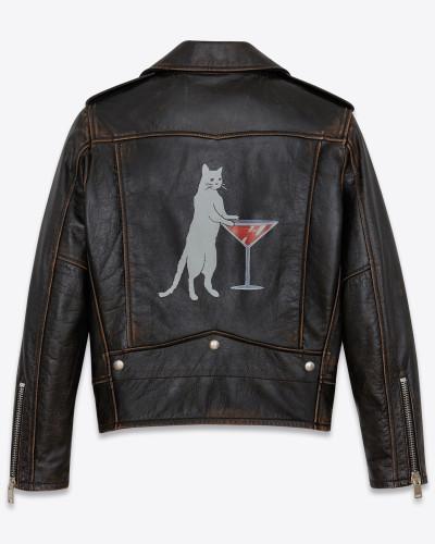 bikerjacke aus schwarzem leder mit katzenprint