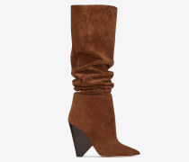 niki 105 asymmetrical ankle boot in wood colored suede