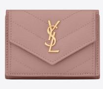 petite Monogramme Portemonnaie aus sanft pinkfarbenem Struktur- und Steppleder