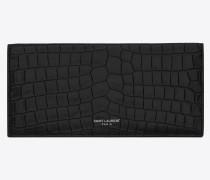 Slim wallet in matte crocodile embossed leather