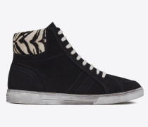 mid-high joe sneaker aus schwarzem und weißem kalbsleder mit schwarzen wildlederdetails