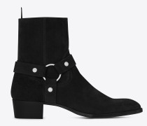 wyatt 40 steigbügel-stiefel aus schwarzem veloursleder