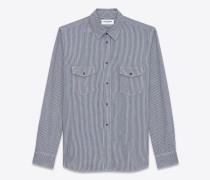 oversize-hemd aus marineblauem baumwolle in stone-waschung mit streifen