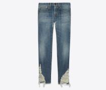Blaue Boyfriend-Jeans aus Denim mit Sandwaschung