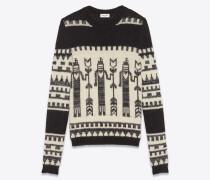 Totem-Pullover aus schwarzem und weißem Jacquardstrick