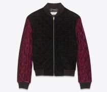 College-Jacke aus dunkelviolettem, abgestepptem Samt
