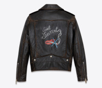 bouche saint laurent bikerjacke aus schwarzem vintage-leder