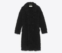 Mantel aus schwarzem, gelockten Kunstpelz