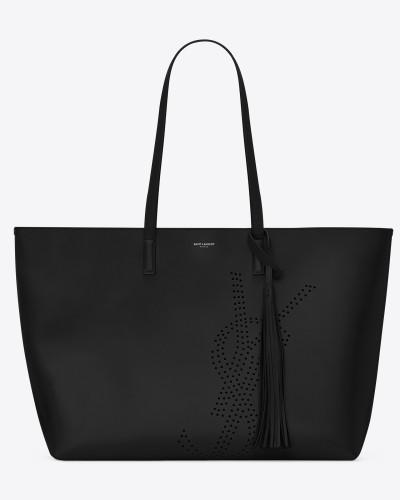 Saint Laurent Damen shoppertasche aus schwarzem vintage-leder mit lochmuster Rabatt Manchester Discounter Standorten FRwXPnO