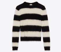 Lose gestrickter Streifenpullover aus schwarzem und weißem Mohair