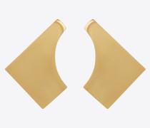 TRIBAL curved square earrings in metal