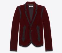 Bestickte Boxy-Jacke aus burgunderrotem Samt