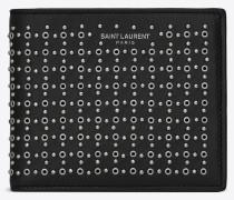 Saint Laurent Paris Portemonnaie aus schwarzem Leder mit Nieten