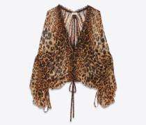 Weite Bluse aus Chiffon mit Leopardentupfen