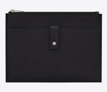 weiches sac de jour tablet-etui aus schwarzem narbenleder