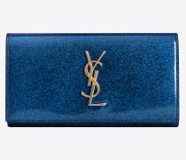 Großes Portemonnaie aus blauglänzendem Lackleder