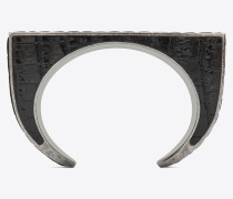 Rectangular cuff bracelet in metal and crocodile-embossed leather