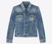 "Medium blue denim jacket with worn-look ""YSL disco"" print on back"