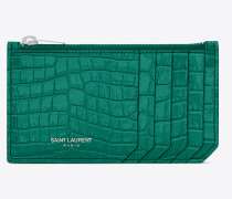 Fragments zippered card case in shiny crocodile-embossed leather