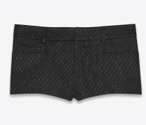Mini-Shorts aus Lamé-Waffelgewebe