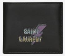 saint laurent eclair east/west portemonnaie aus schwarzem leder mit nieten