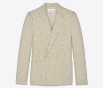 Paillettenbestickte, zweireihige, passgenaue Jacke aus Twill-Bouclé