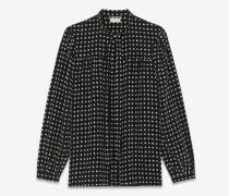 Lavallière-Bluse mit Sternenprint aus schwarzem Crêpe-de-Chine
